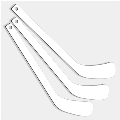 Plastic Player Hockey Sticks (Blank White)